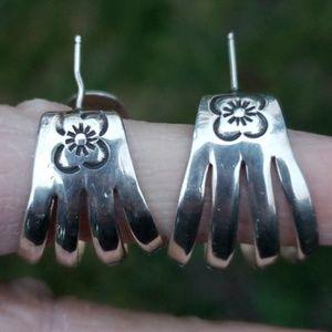 Sterling Silver Hoop Earrings Native American